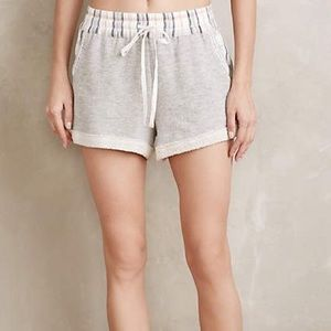Anthropologie Gray/Pink Comfy Sleep shorts pockets